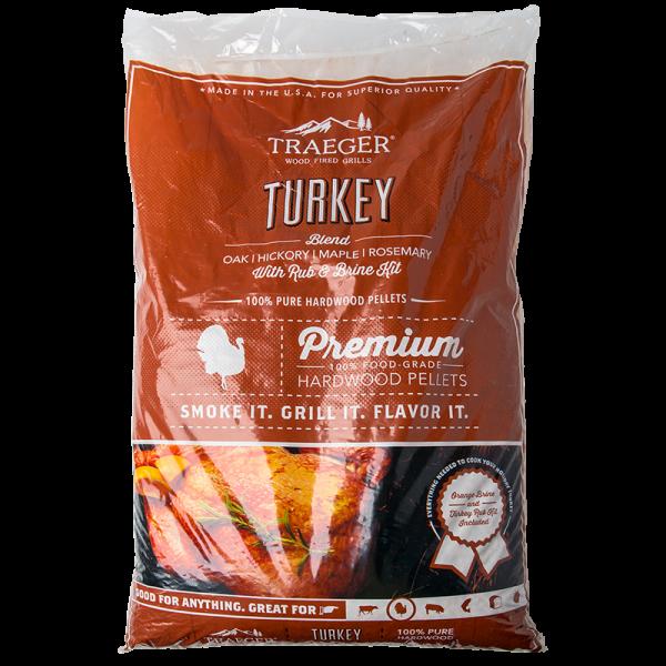 Traeger Hartholz Pellets Turkey Blend 9kg Beutel inkl. Rub und Orangen-Sole