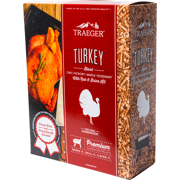 Traeger Hartholz Pellets Turkey Blend 9kg Box inkl. Rub und Orangen-Sole